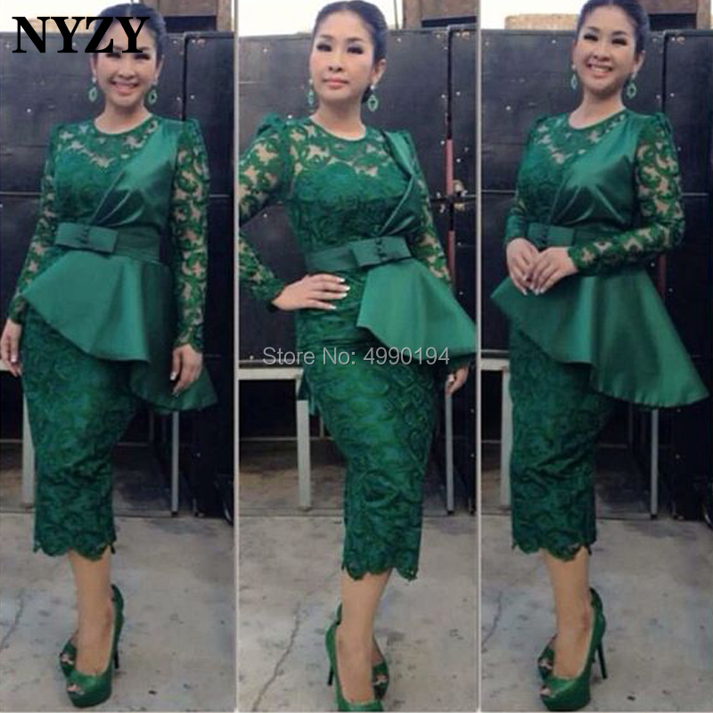 NYZY C101 Chic Dark Green Lace Long Sleeve Evening Dress Short Wedding Party Gown Robe Cocktail vestido coctel 2019