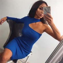 2019 Spring Women One Shoulder Slope Long Sleeve Dress Sexy  Club Turtleneck Sexy Bodycon Dresses Skinny Party Dress