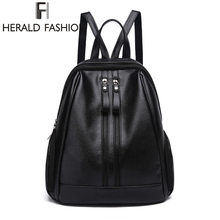 Herald Fasion PU Leather Backpacks for Adolescent Girls Zipper Backpack Female Backpack to School No