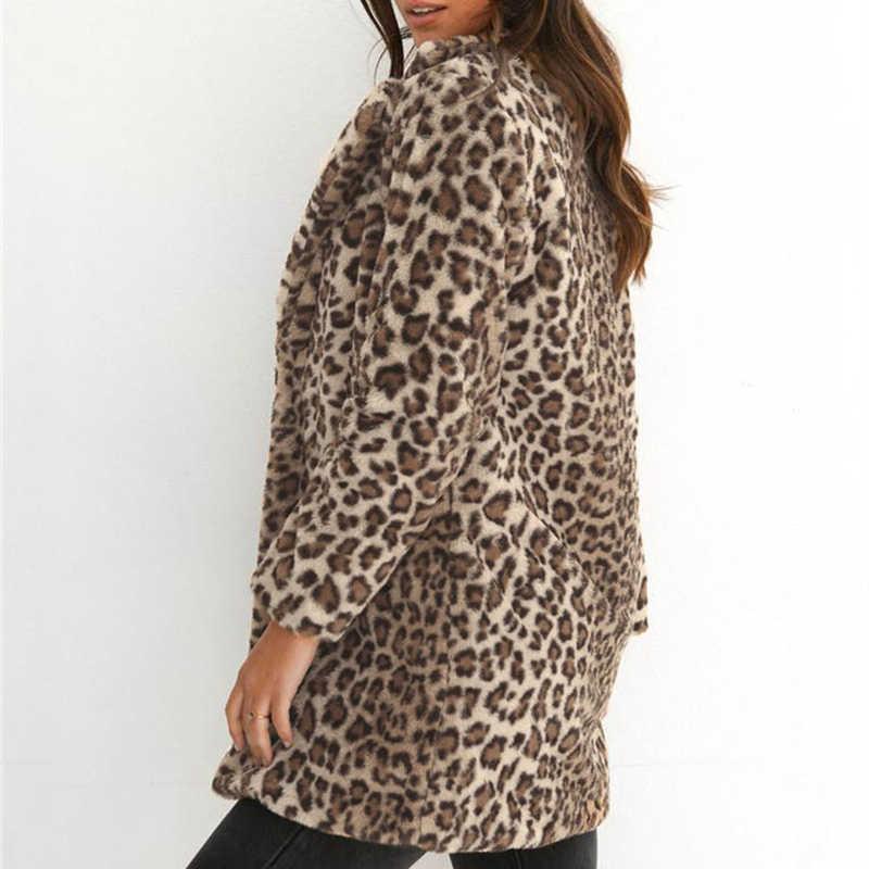 ... Winter Women Leopard Print Fluffy Fleece Coat 2018 Newest Thick Warm  Turn-down Collar Cardigan ... a07e40d9b