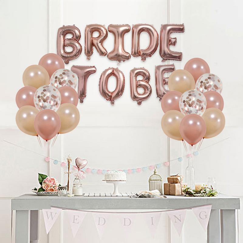 Bride To Be Balloons Set Bachelorette Party Rose Gold Tablecloth Foil Fringe Curtain Bridal Shower Decorations Kit Supplies