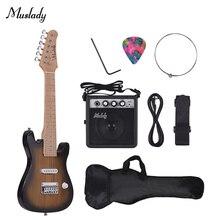 28 дюймов, детский набор для электрогитары, клен, шея, корпус, мини усилитель, сумка для гитары, ремень, палочка, струна, гитара ra el ctrica