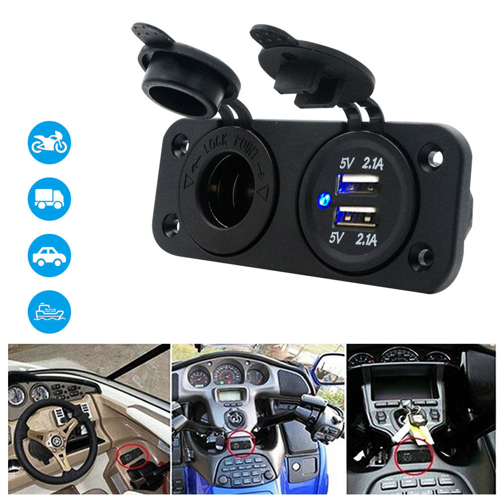 <font><b>12V</b></font> Dual <font><b>USB</b></font> Adapter Car Cigarette Lighter Socket <font><b>Charger</b></font> 4.2A Boat Truck <font><b>Motor</b></font> image