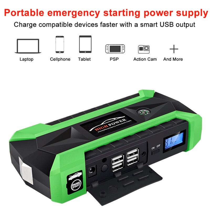 Démarreur de saut multifonction 89800 mAh 12 V 4 USB 600A Portable batterie externe chargeur de voiture chargeur de démarrage - 3