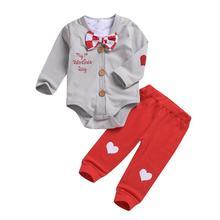 e7df27aec Valentines Day Baby Clothes Set 3pcs/set Infant Long Sleeve Bow Tie Shirt  Coat Pants
