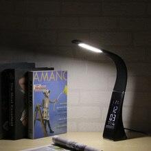 Светодиодный светильник для защиты глаз с регулируемой яркостью, светодиодный настольный светильник для чтения, светильник RGB с сенсорным управлением, календарь, будильник, температурная лампа