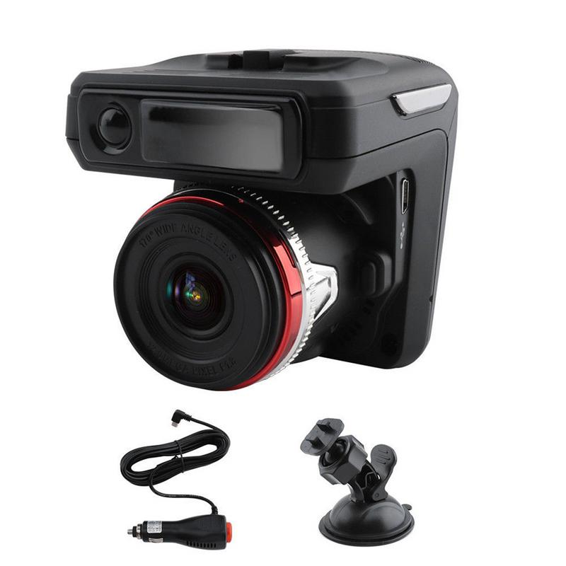 2 en 1 LCD HD affichage compteur de vitesse Mobile enregistreur de conduite détecteur de Radar avertissement précoce intégré Machine cachée noir