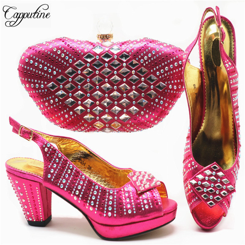 Fuchsia Color Ladies Shoes And Bag Set New 2019 African Party Shoes And Bag Set Italian