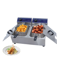 Stainless steel double tank electric double tank basket french fries frying machine fryer machine chicken grill hotpot oven