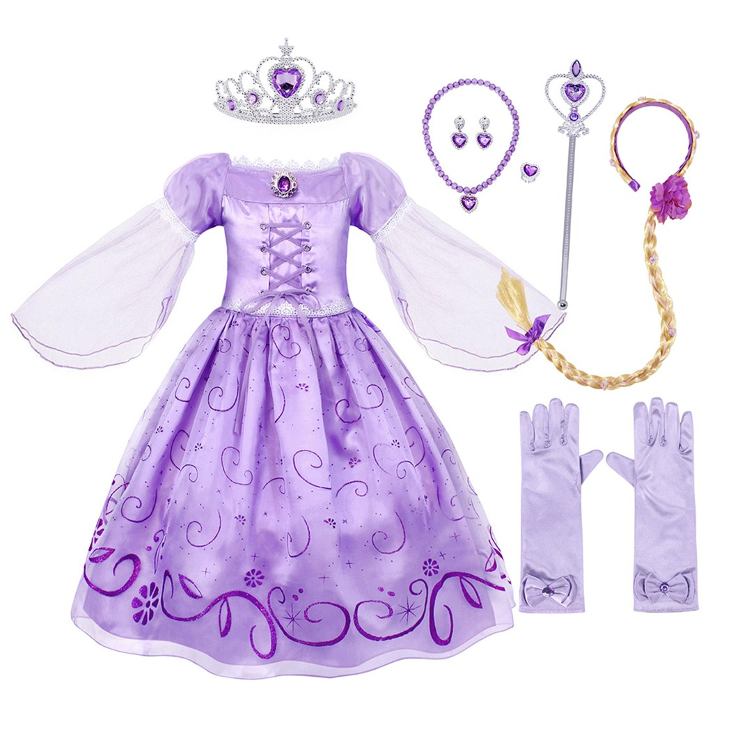 Kids Cinderella Princess Purple Gown Bow Mesh Dress Up for Girls Party Costume