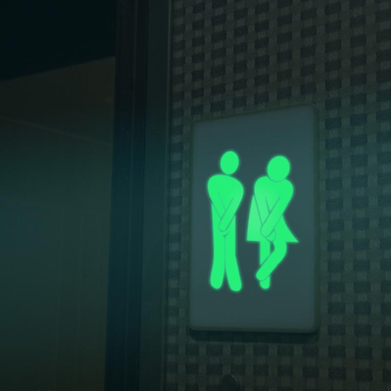 PVC WC Toilet Wall Sticker Sign Sticker Waterproof Luminous Sticker Picture Detachable Toilet Door Sign Family Bathroom Supplies