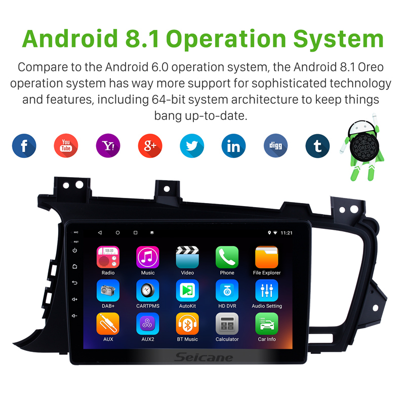 Seicane 2DIN 9 Inch Android 8.1 Car Radio Stereo GPS Navigation Head Unit For 2011 2012 2013 2014 Kia k5 LHD With 8 Core 16G ROM-in Car Multimedia Player from Automobiles & Motorcycles    2