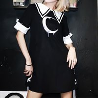Summer Gothic Moon Print Short Dress Women Black School Streetwear Casual Lace Up Japanese Style Hipster Girl Goth Mini Dresses
