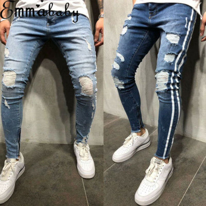 2019 New Brand Fashion Fashion Men's Ripped Skinny Jeans Destroyed Frayed Slim Fit Denim Pant Zipper US
