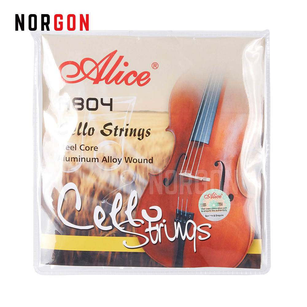 Alice A804 4/4 Cello Strings Nickel Plated Ball End Advanced Al-Mg And Ni-Fe Alloy Wound Stainless Steel Core 10 Sets