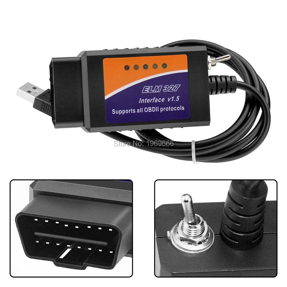 Automóvel ELM327 USB Ferramentas de digitalização para leitor de código OBD2 OBDII para Ford HS-CAN / MS-CAN Switch Forscan ELM 327 Ferramenta de diagnóstico do carro OBD 2 Scanner Automotivo