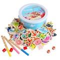 Logwood 60 шт. набор магнитных рыболовных игрушек игра для детей удочка 3D Рыба Детские развивающие уличные развлечения неэлектрическое многоцветное дерево - фото