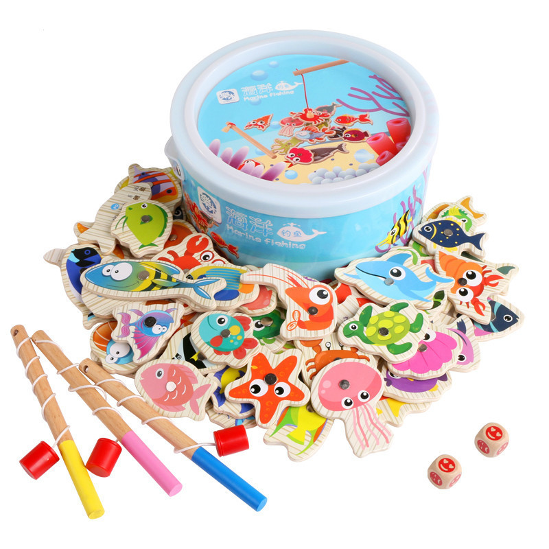 Logwood 60pcs Set Magnetic Fishing Toy Game Kids Rod 3D Fish Baby Educational Outdoor Fun Non-electric Multicolor Wood