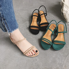Womens Summer Sandals Flat Slippers Straps Beaded Roman Slope Shoes Low Heel Brown Flock Elegant Simple Style