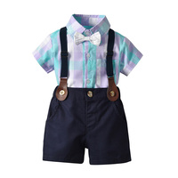 kid summer Toddler Baby Boy Set Gentleman Plaid Tops+Strap Shorts Outfit Bowtie clothes