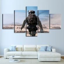 5 Piece Game Poster Soldiers In The Desert Pictures Modern Oil Painting Canvas Art Home Decor
