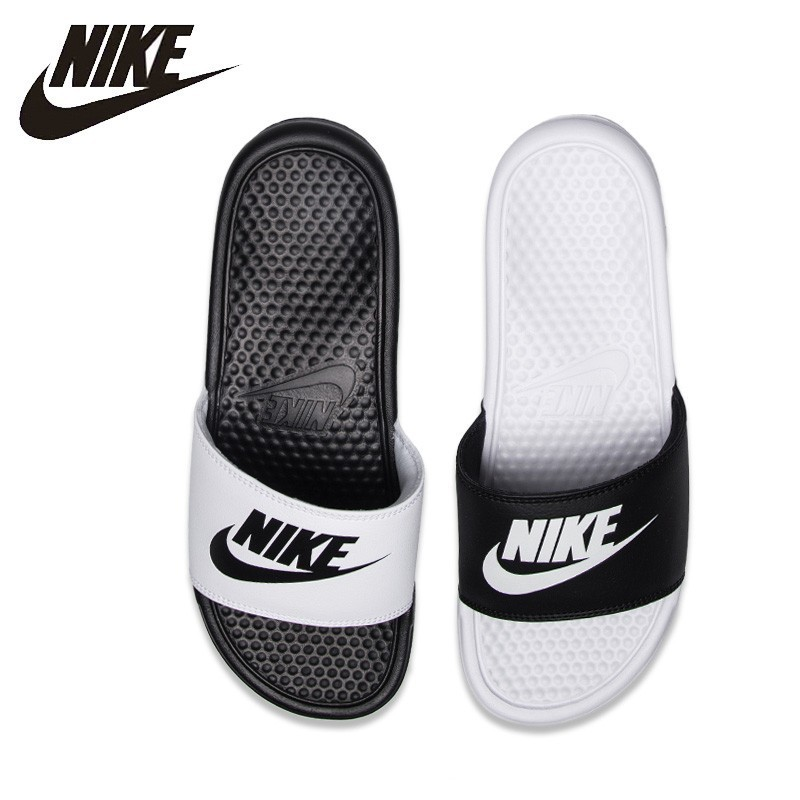 new concept 415e4 934f7 US $32.39 59% OFF|Aliexpress.com : Buy Nike NIKE BENASSI JDI Black And  White Sports Slippers Anti slip Sandals 343880 090 from Reliable Upstream  Shoes ...