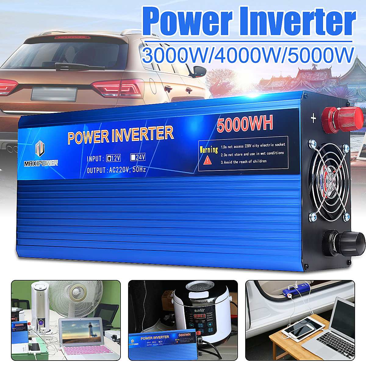 3000/4000/5000W Peaks Modified Sine Wave Power Inverter DC12V to AC220V Double LED digital display3000/4000/5000W Peaks Modified Sine Wave Power Inverter DC12V to AC220V Double LED digital display