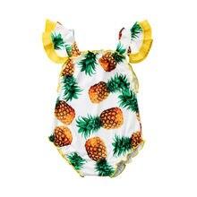Милый Летний цельный купальный костюм с ананасом для маленьких девочек, купальный костюм