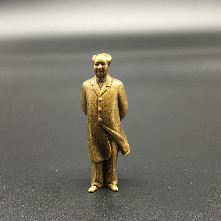 Collectable Chinese Brass Carved Mao Zedong Chairman Mao Exquisite Small Statues
