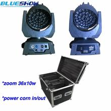 2pcs/lot+flightcase, Zoom LED Moving Head Wash Light 36x10W RGBW Quad Stage Lights Equipment