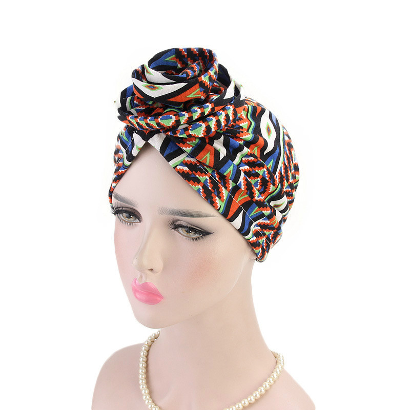 Women Turban Hat Bohemia Style Flower Hijab Caps Beanie Ladies Hair Accessories India Hat Muslim Scarf Cap Hair Loss Wholesale