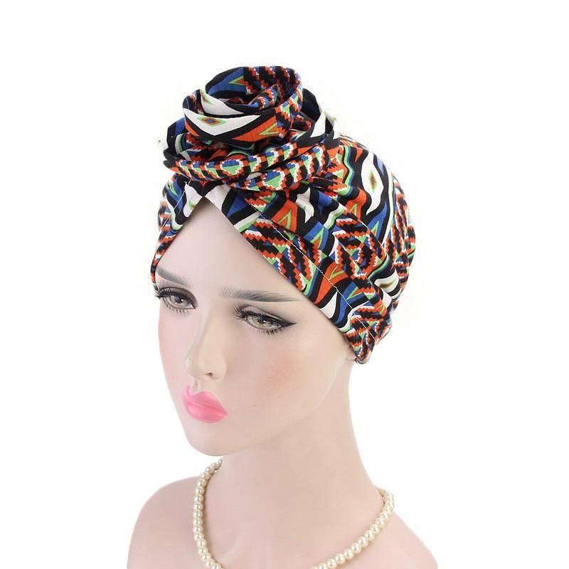 Women Turban Hat Bohemia Style Flower Hijab Caps Beanie Ladies Hair Accessories India Hat Muslim Scarf Cap Hair Loss Wholesale