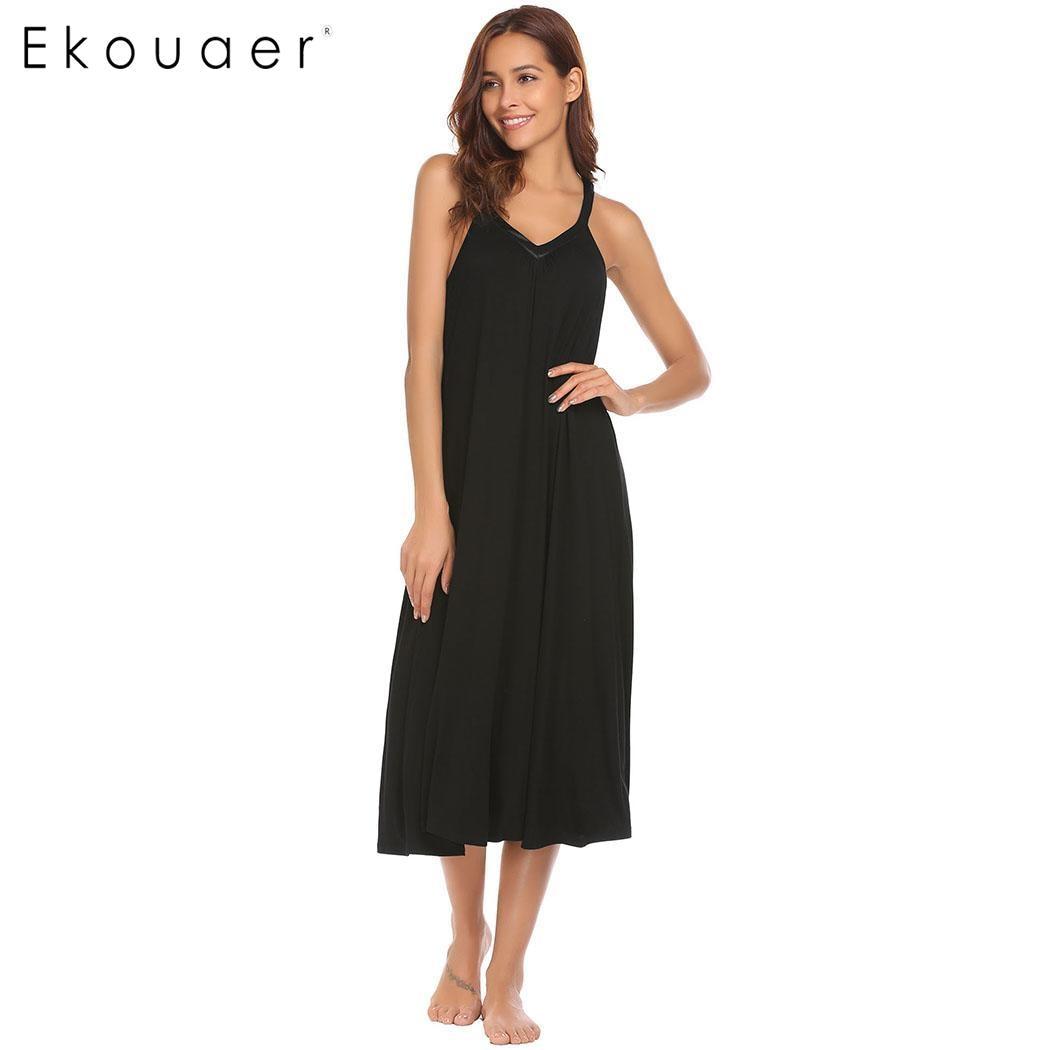 Ekouaer Night Dress Women Lingerie Sleepwear V-Neck Sleeveless Midi Sleep Dress Loungewear Nighty   Sleepshirts   Cotton   Nightgown