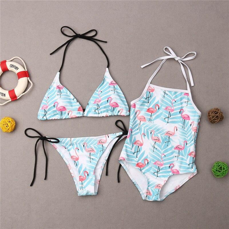 Mother Daughter Family Matching Swim Costume Flamingos Stripe Swimwear Bikini Swimsuit Monokini Bathing Suit
