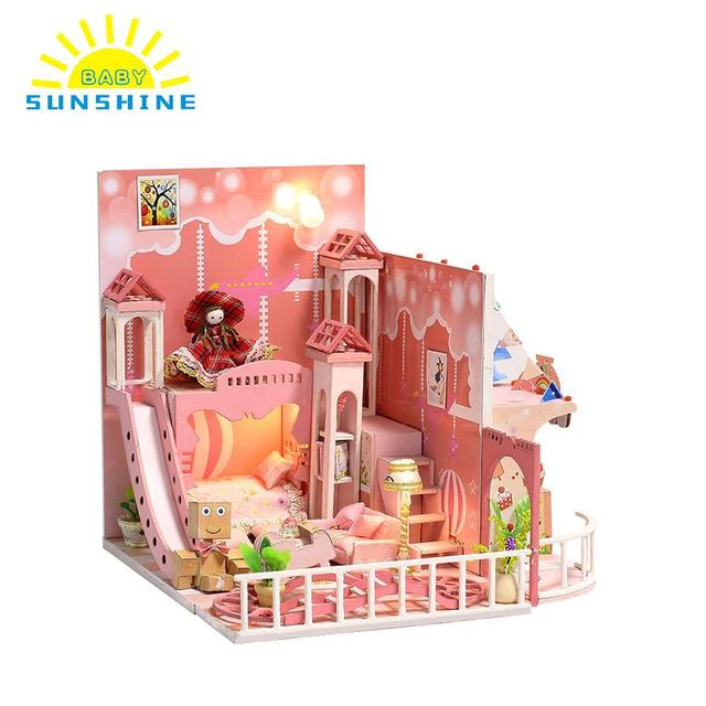 Doll House Dream House Miniature House DIY Building Kit safe Wood Furniture Toys for Kids Girls to enhance the practical ability