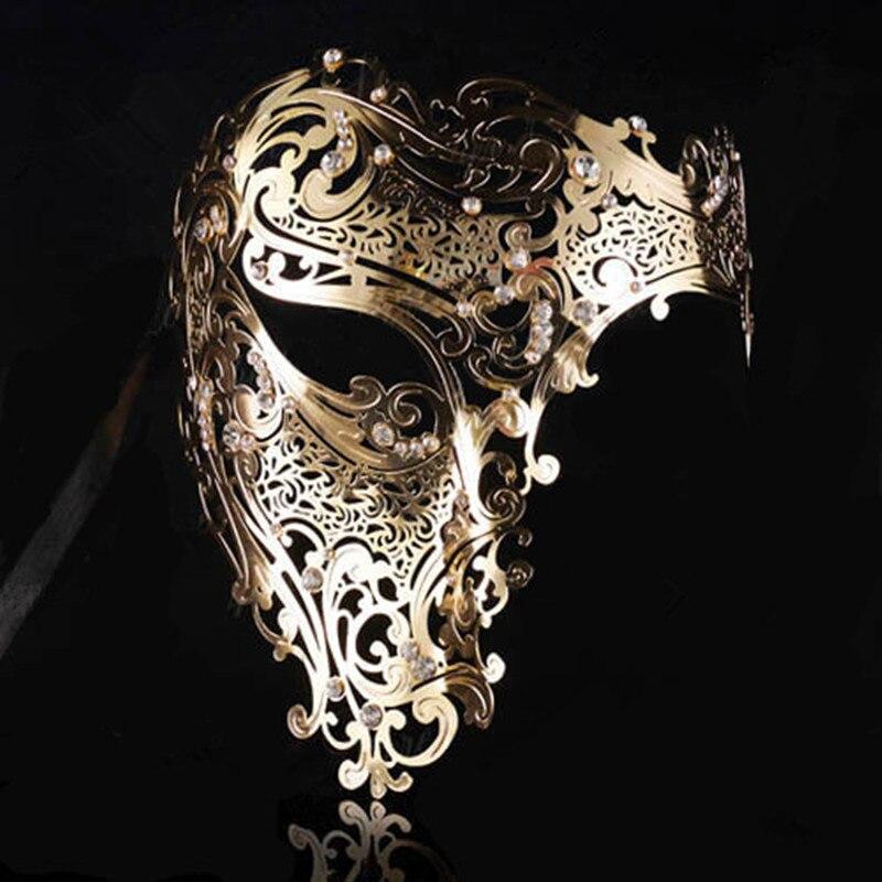 Preto ouro crânio máscara de metal dia das bruxas strass meia face veneziano masquerade homem branco feminino crânio filigrana festa máscara da