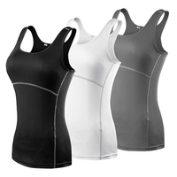 The 3 Women Sport Yoga Clothes Wearing Compression Tights Gym Yoga Base Running Vest Sleeveless Top