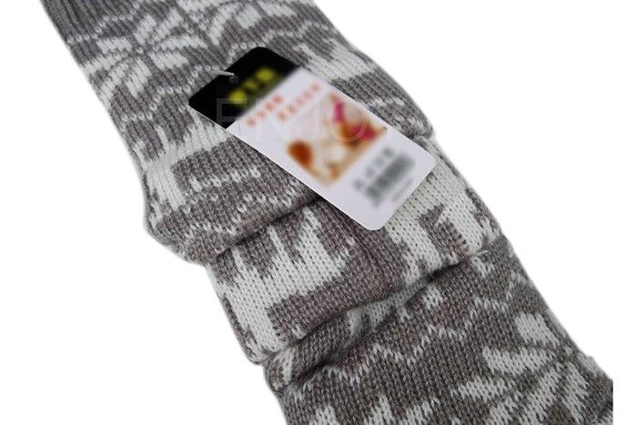 1 Pairs Knee Socks Lady Girls Comfortable Warm Winter Knitting Snowflake Deer Shape Leg Warmer Footless Knee Socks