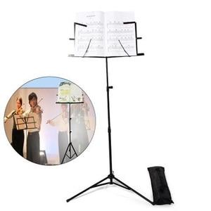 Image 1 - Müzik standı katlanır müzik demir tutucu ile çanta katlanır Tripod standı demir yüksekliği müzik levha tutucu müzik aleti