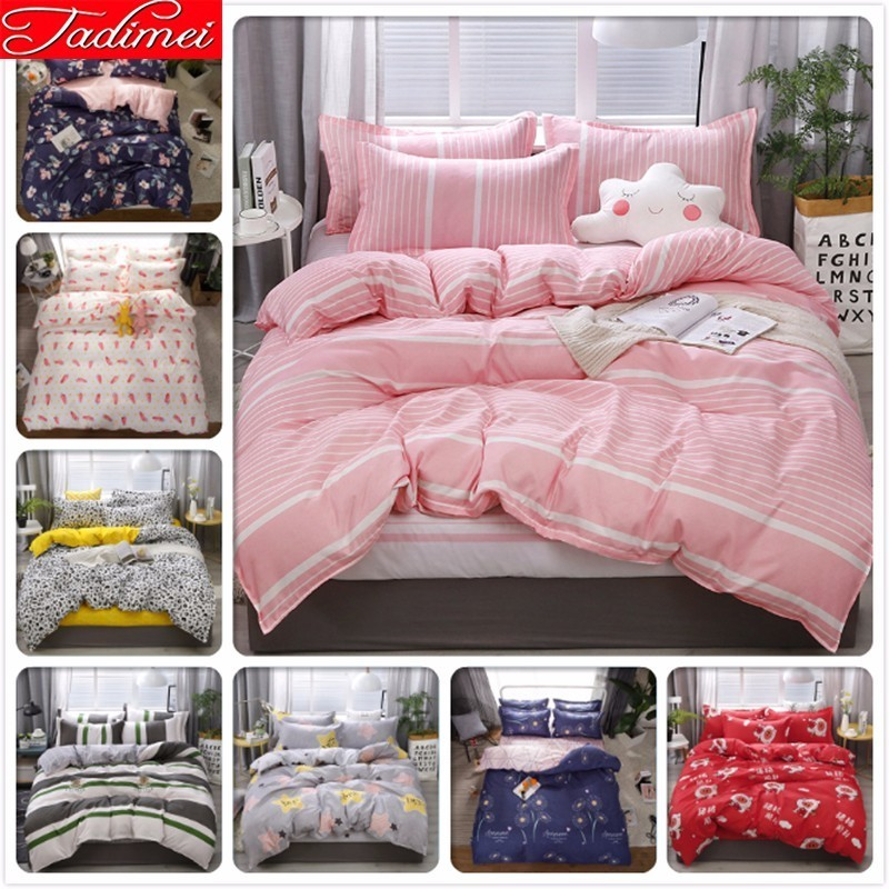 NEW Pink Stripe Duvet Cover Bedding Set Adult Kids Soft Cotton Bed Linen Single Full Twin Double Queen King Big Size Bedspreads