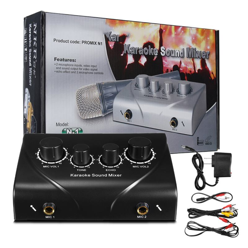 LEORY Professional Karaoke Sound Mixer Mini Microphones Audio Mixer Amplifier  Metal Mixer Console Digital Sound Mixer Black