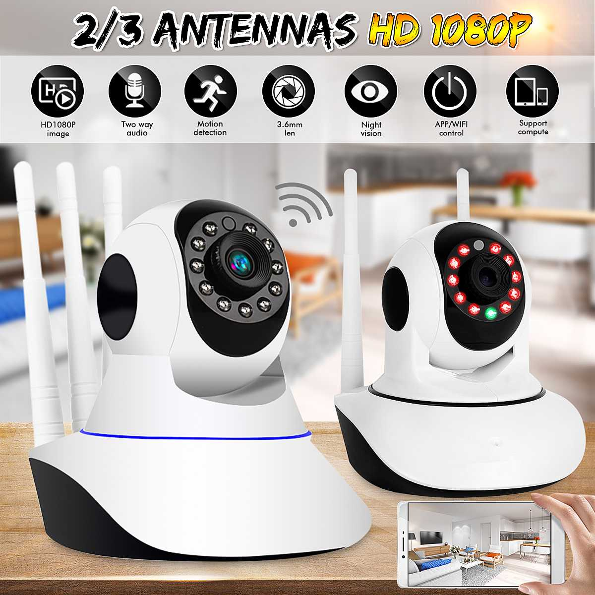 1080P WiFi Wireless IP Camera Security Video Surveillance Camera Baby Monitor Night Vision / PTZ / 3 Antenna / Motion CCTV1080P WiFi Wireless IP Camera Security Video Surveillance Camera Baby Monitor Night Vision / PTZ / 3 Antenna / Motion CCTV