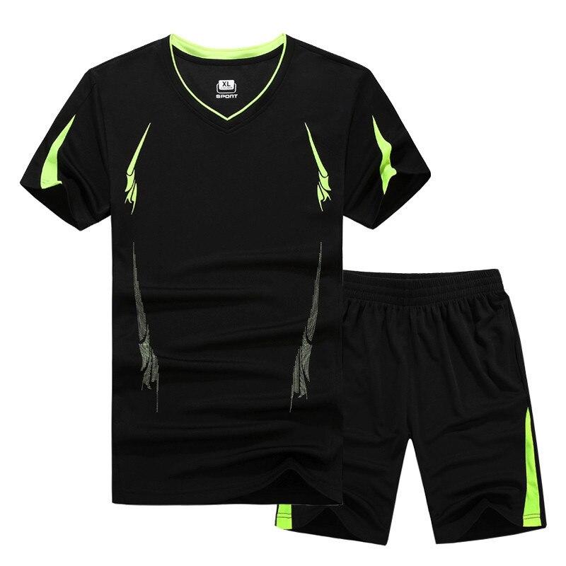 Plus Size 6xl-9xl Mens T-shirt + Shorts Sets Summer Cool 2Pieces Sets Male Tracksuit Quick-drying T Shirts Men Beach Shorts Sets