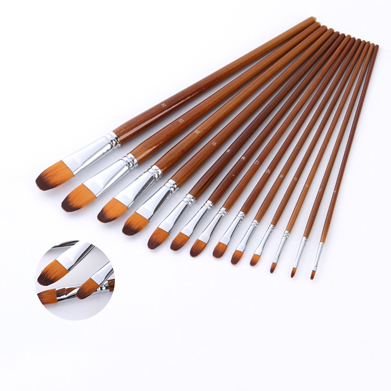 12PCS/Lot Nylon Pointed Flat Head Acrylic Paint Brush Dark Brown Handle Artistic Brushes For Watercolor Painting Art Supplies