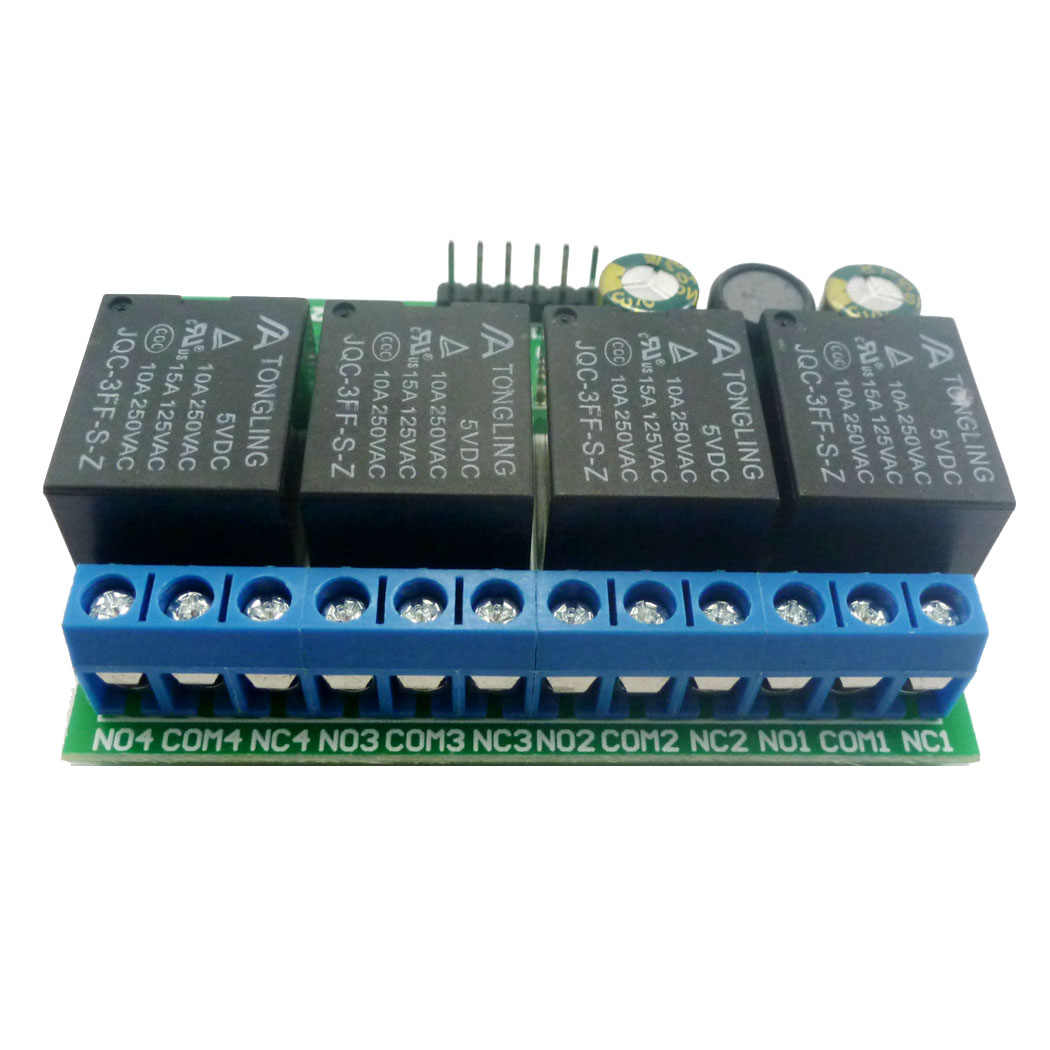 وحدة تحكم MCU IO بمفتاح إلكتروني ذاتي الغلق بمزلاج قابل للتخبط وللنبض المنخفض ومزودة بزر تحكم 4ch تيار مستمر 6 فولت-24 فولت