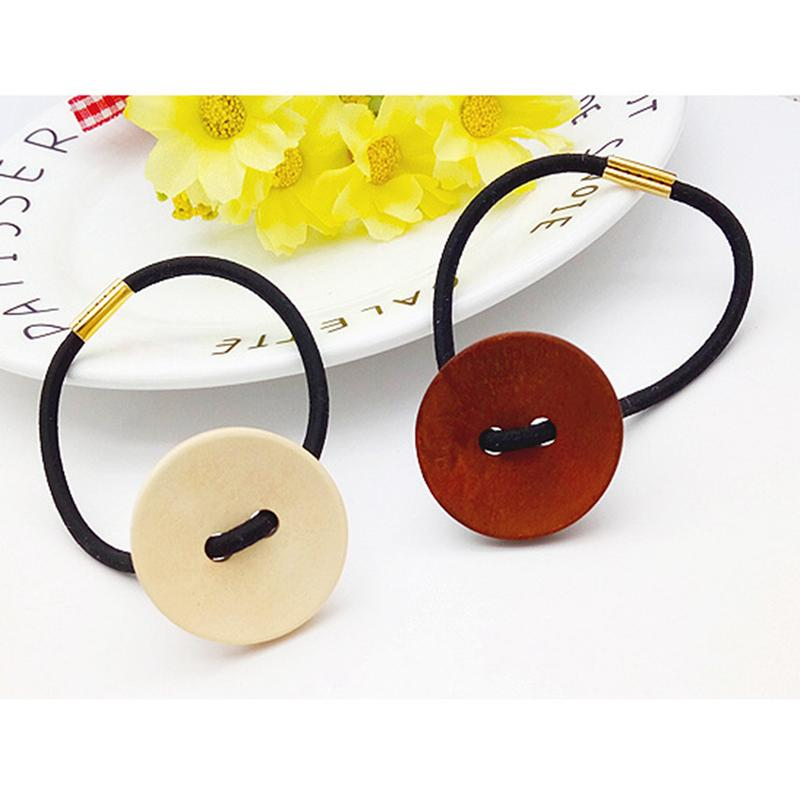 Women Hairline Wooden Korean Style Of The Ring Fashion Retro Button Hair Tie Rubber Band Head Rope Hair Ornaments For Girl