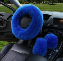 3pcs/set Fur Car Steering Wheel Cover Wool Winter Essential Universal Furry Fluffy Thick Faux Three Season Blue Color