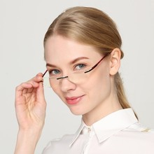 YOKS Rimless Oval Anti Blue Ray Reading Glasses Women Men Ultralight HD Transparent Computer Eyewear Presbyopia Reader WN1233