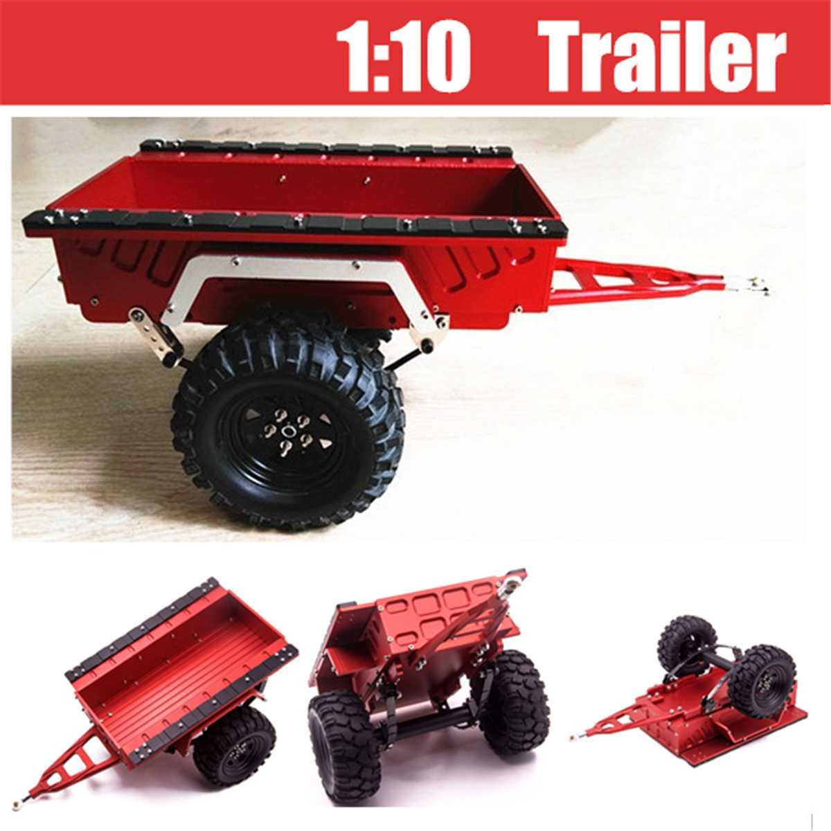 Aluminum 1:10 Scale Trailer Ties Diecast Toy Vehicle For TRX4 RC4WD D90 SCX10 Simulation Crawler Toy Children Kids Gifts