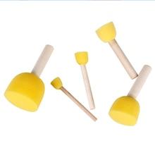 5Pcs/set Wooden Sponge Paint Brush Kids Children Flower Graffiti Art Drawing Painting Toys Seal Tool School Stationery Supplies
